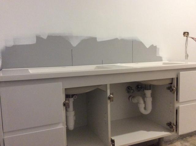 Bathroom sink in progress